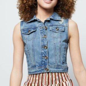 Cello Denim Crop Jean Vest Size Large